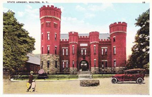 Color postcard of the old armory in Walton NY, currently the Castle on the Delaware
