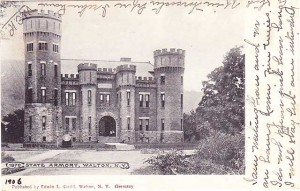 Sepia postcard of the Armory in Walton NY, currently Castle on the Delaware
