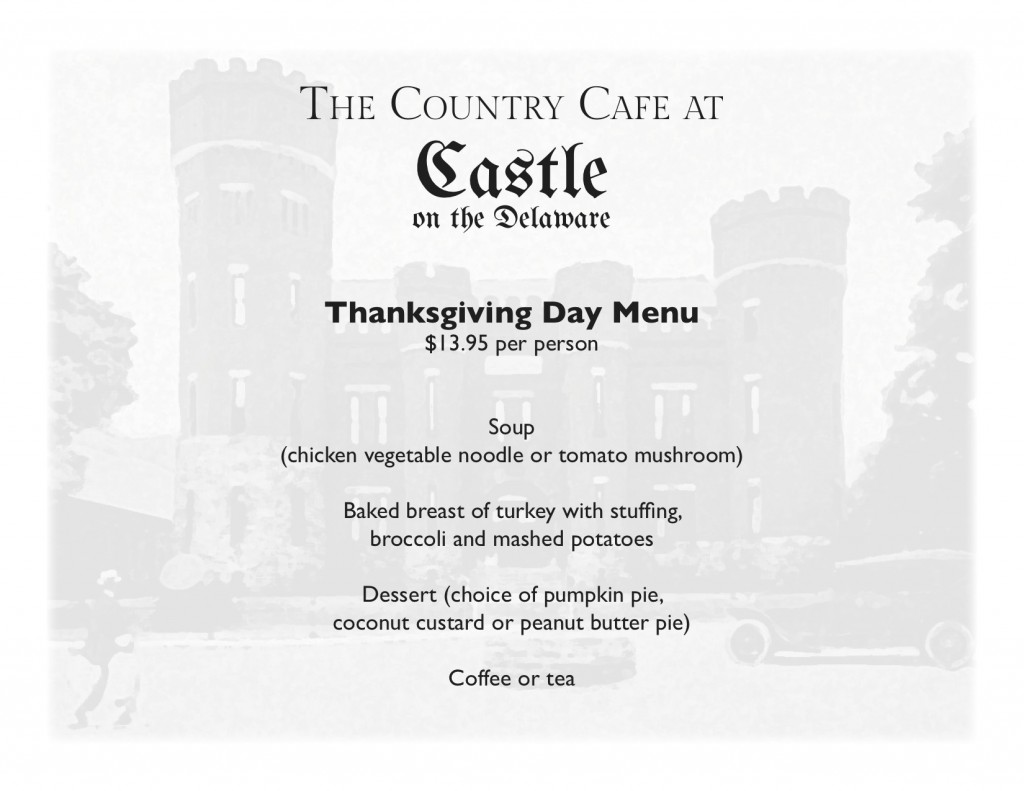 Thanksgiving Day Menu - Country Cafe at the Castle on the Delaware