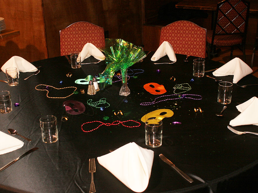 Table set up for Mardi Gras at the Castle